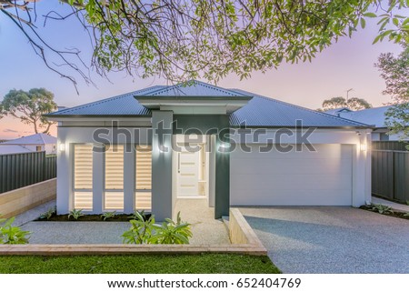 Front elevation of a new modern Australian style home. #652404769