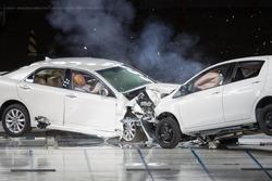 Front End Collision during a Crash Test.
