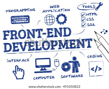 Front-end development. Chart with keywords and icons