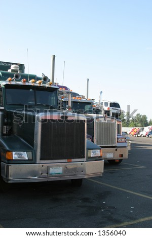 Front end of trucks at a truck-stop