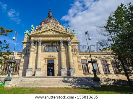 Front entrance of the Szechenyi Thermal Bath in Budapest, Hungary