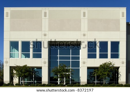 Front Facade of New Commercial Office Building for Lease