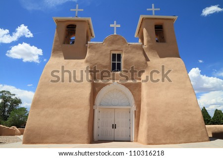 front facade of Spanish mission-style church