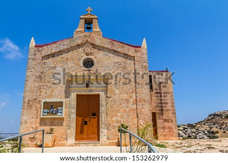 Front facade of the Bingemma chapel in Malta.