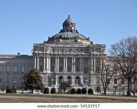 Front facade of the Library of Congress in Washington DC.
