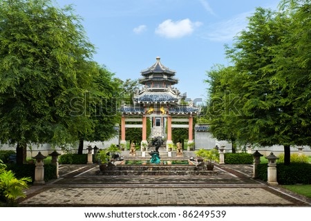 Front Garden of Chinese style entrance and bright sky