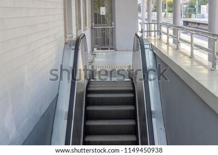 Front horizontal shot of mechanical stair. Photo has taken in Izmir at Turkey. #1149450938