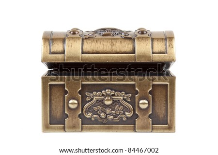 Front image of a gold chest isolated on a white background.