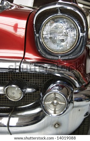 Front lights on a classic car