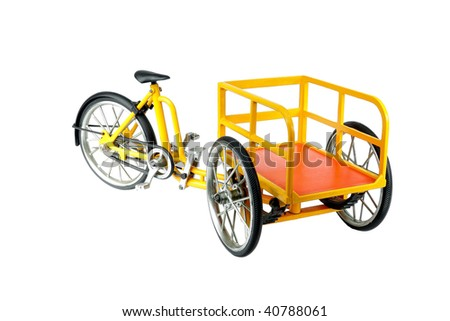Front loading Carrier tricycle isolated on white