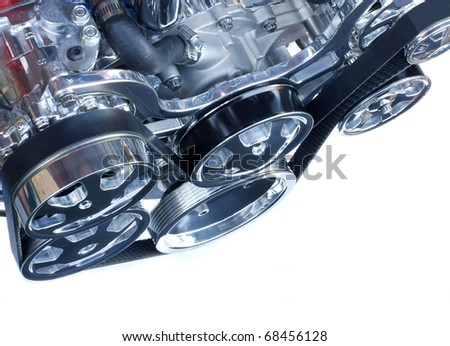 Front of a Chrome High Performance V 8 Engine
