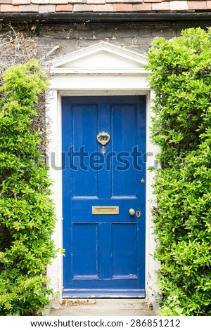 Front of a cottage covered with green hedge closeup