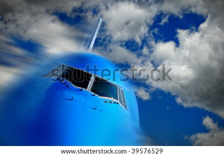 Front of a large passenger airliner in flight