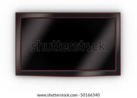 Front of a wall-mounted stylish LCD TV.
