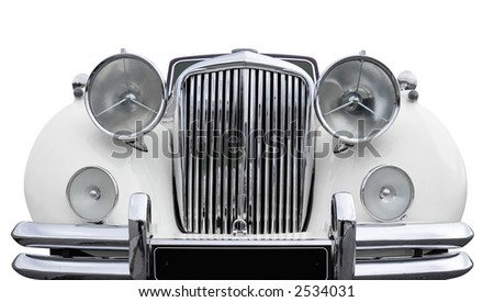 Front of a white old car. + clipping path