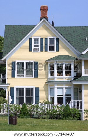 Front Of A Yellow House And Blue Sky Stock Photo 57140407 ...