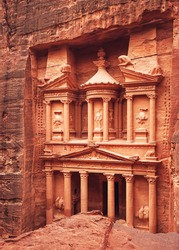 Front of Al-Khazneh (Treasury temple carved in stone wall - main attraction) in Lost city of Petra