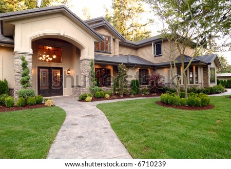 Front of an American Luxury Wooden House