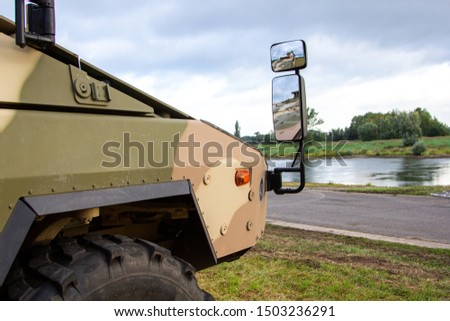 Front of an infantry fighting vehicle in desert camouflage