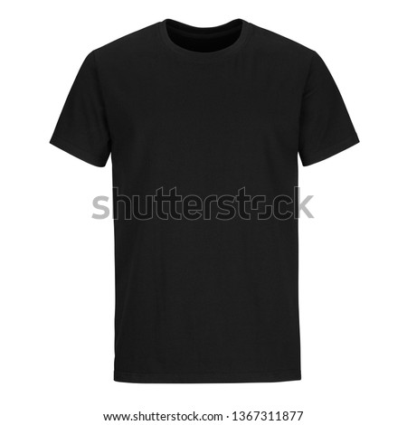 Front of black men cut t-shirt isolated on white background