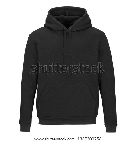 Front of black sweatshirt with hood isolated on white background  #1367300756