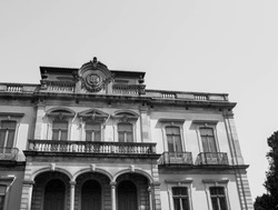 Front of buildings in the city of Porto, architecture in black and white, Portugal