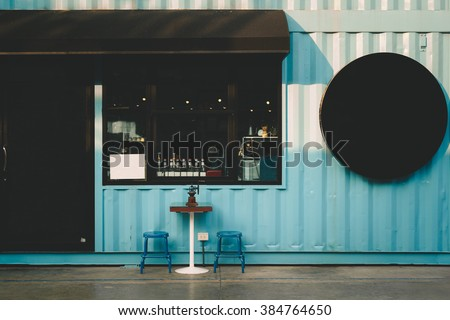 Front of coffee shop.