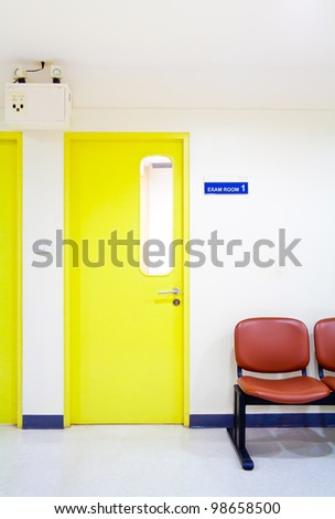 Front of exam room in hospital