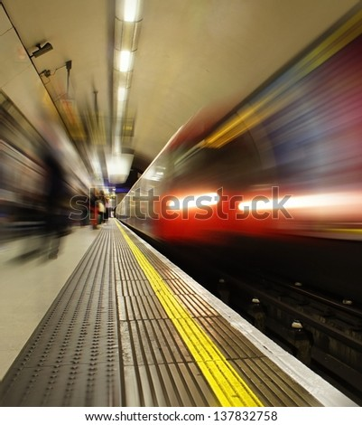 Front of London Underground Train with Blur