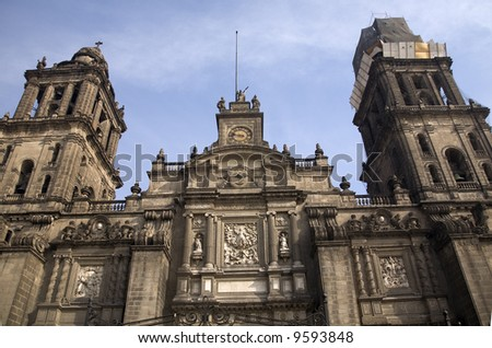Front of Metropolitan Cathedral in the Zocalo, center of Mexico City