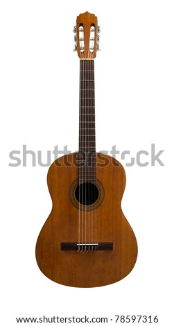 Front of old classic guitar isolated on white background
