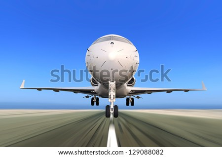 Front of Private Jet Plane Taking off with Motion - Radial  Blur. Blue skies and runway in the background