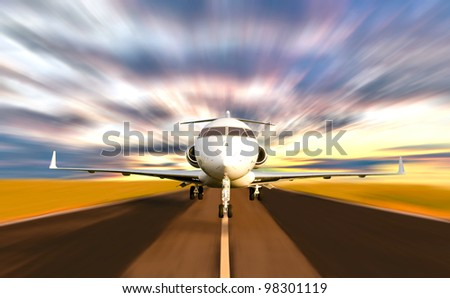 Front of Private Jet Plane Taking off with Motion / Radial  Blur. Sunset Scene