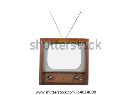 Front of 1960's old television isolated on white with isolated screen