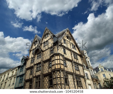 Front of the House of Adam, old half-timbered house in the city of Angers, France - stock photo