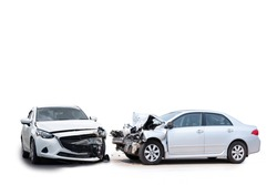 Front of white car get damaged by accident on the road. Isolated on white background. Saved with clipping path