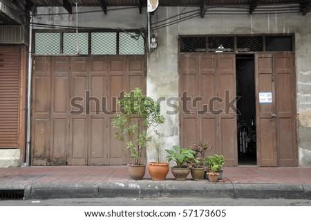 Front Old Brown Open Door