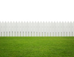 Front or back yard, white wooden fence on the grass isolated on white background with copy space