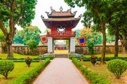 Front Pagoda of the Beautiful Unesco Temple of Literature, Hanoi in Vietnam