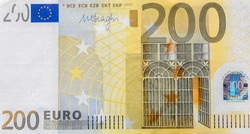 Front part of 200 euro banknote close-up with small details. European currency. Inflation, business, economics and finance theme.