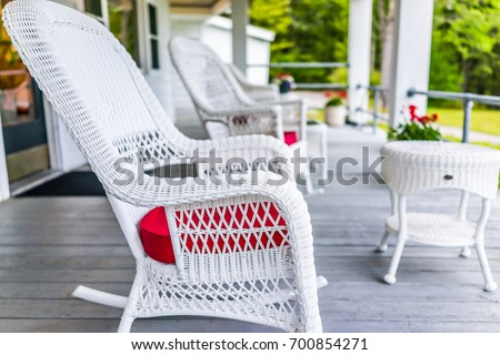 front porch of house with white ...
