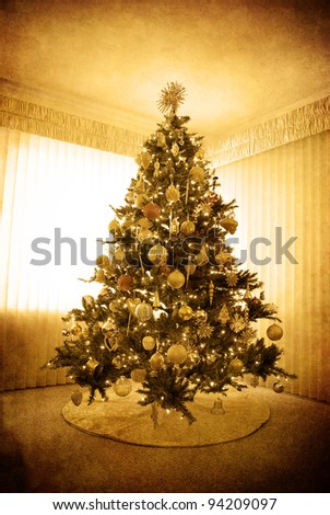 Front room decorated for christmas with christmas tree antique