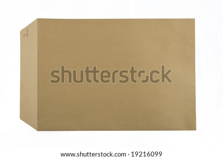front side of an horizontal brown envelope isolated on white background