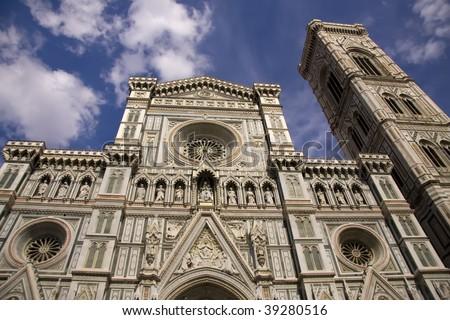 Front side of the Basilica di Santa Maria del Fiore, Florence, Italy - stock photo