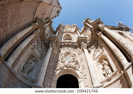 Front side view of the cathedral in Valencia, Spain.