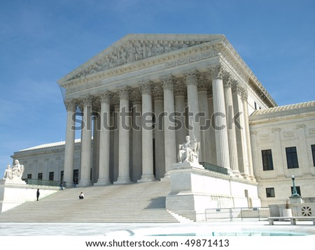 Front steps of the Supreme Court for the United States of America in Washington DC
