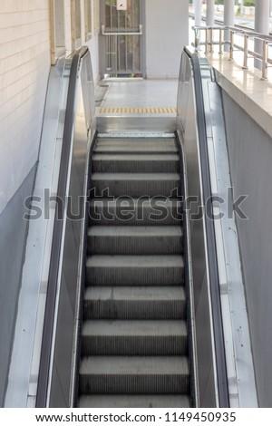 Front vertical shot of mechanical stair. Photo has taken in Izmir at Turkey. #1149450935