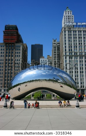 "Front vertical view of Cloud Gate sculpture aka ""The bean"", Millennium Park, Chicago, Illinois"