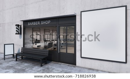 Front view Barber shop Modern & Loft design.Concrete wall, Wood floor, Black frame windows door- 3D render