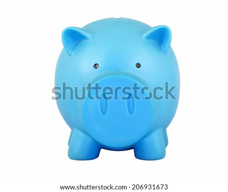 Front view blue piggy bank isolated on white background.
